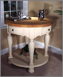 "RSVP Round 36"" Kitchen Island in a Cream and Natural Sherwin Williams Finish, Kaco Model# K536-C"
