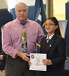 Cassandra Hamilton, a sixth grader, at Everest Academy is the second place winner of the National Geographic Society Geography Bee.