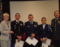 Gail Thomason, HFD, First Place: Julian Tapia, Second Place: Andrew Dominguez, Third Place: Yomary Levya, Maj. Gen. Rodriguez