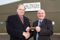 John Ironside and Francis Hamilton, Chairman, Macrae & Dick Ltd outside Hi-Tech Bodyshop