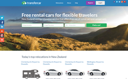 screenshot of Transfercar New Zealand's new website front page