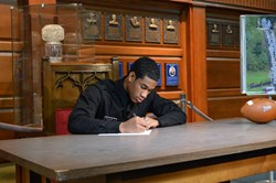 Cadet Corwin Cutler of Fork Union Military Academy signs his Letter of Intent, committing to the University of Virginia.