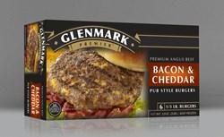 Glenmark's Bacon & Cheddar pub style burger, 1/3 lb. premium Angus beef