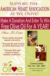 Donate to the American Heart Association and enter to win olive oil for a year.