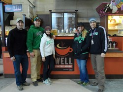 Crimson Cup Trainer Steve Bayless (left) with Matt and Julie Love and Christy and Kevin Scott at The Well Coffee House, Boston South Station.