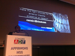 Dr. Mamaly Reshad of the Anacapa Dental Art Institute earlier this year gave a lecture to the Association Dentaire Française on full mouth implant reconstructions.