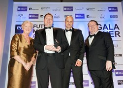 Advanced Insulation Plc - National Winner of The Business Growth Award sponsored by Westfield Health (l-r) Jill Davies, Westfield Health CEO; Andrew Bennion, Managing Director and Asaf Hisherik, Marketing Manager at Advanced Insulation Plc & Declan Curry,