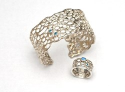 Cactus cuff gem set with blue diamonds in sterling silver