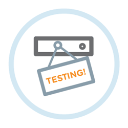 "Illustration of server with ""testing"" sign hung on it"