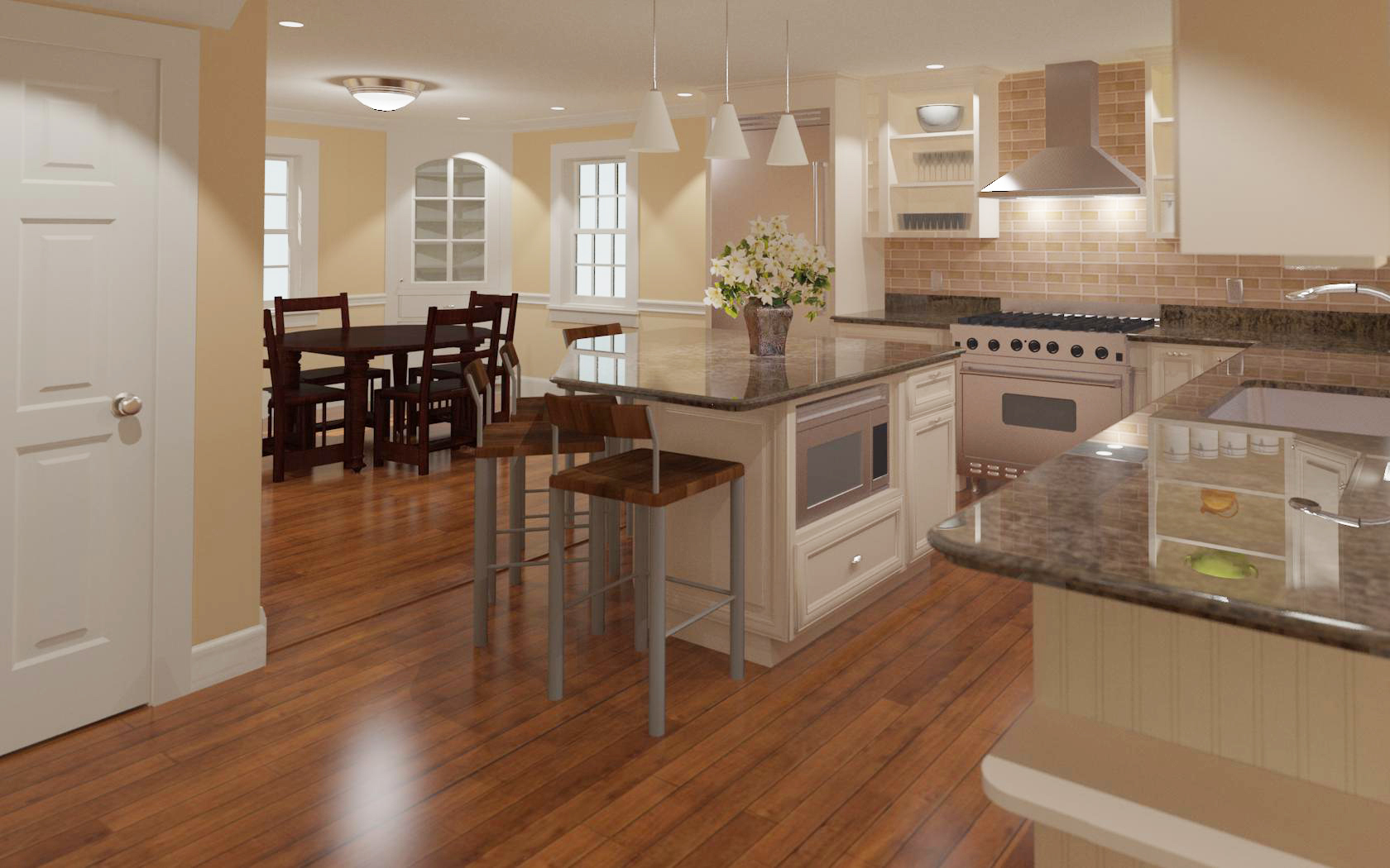 traditional kitchen 3d renderinghomedesignconsultingcom - Home Design Consultant