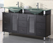"Design Element Redondo 61"" Espresso Finish Double Sink Bathroom Vanity Set (DEC015D)"