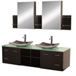 "Wyndham Collection WC-WHE007-SH-72E - avara 72"" wall-mounted double Bathroom Vanity set - espresso"