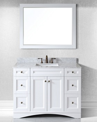 Virtu USA 48 Elise Single Square Sink Bathroom Vanity in Antique White with Italian Carrara Marble Top