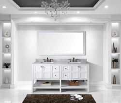 Virtu USA 72 Winterfell Double Square Sink Bathroom Vanity in Antique White ED-30072-WMSQ-AWH