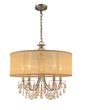 Crystorama 5625-AB - antique brass chandelier accented with etruscan smooth oyster crystals and gold silk shimmer shade