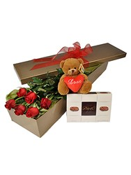 6 Red Roses and Teddy Bear