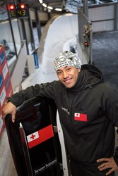Bruno Banani at the top of a run. The Tongan luger came in 32nd in men's singles luge in the 2014 Winter Olympic Games