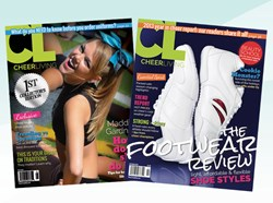 Issues 1 and 2 of CheerLiving™, a free print and digital cheerleading magazine