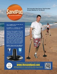 "The 6"" inch SandPad™ Beach Crutch Tip Debuts at the 2014 Los Angeles Abilities Expo,"