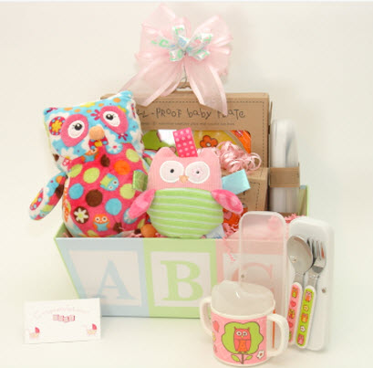 Thoughtful presence brings certified organic baby products to new another unique gift basket features an owl themed baby dining set and plush toys negle Choice Image