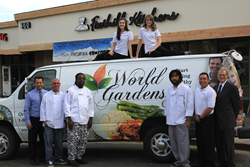 The team in front of Foothill Kitchens, the home of World Garden's Cafe.