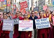Hundreds of Buddhists Protest, Accusing the Dalai Lama of Religious Persecution and Human Rights Abuses