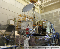 Engineers testing the GPM spacecraft at Goddard Space Flight Center.