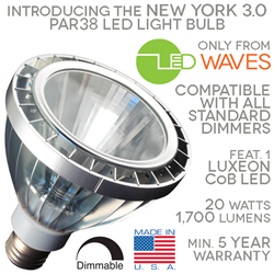 NY3.0 Dimmable PAR38 LED Light Bulb from LEDWaves