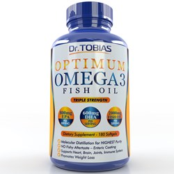 Bottle of Dr. Tobias Optimum Omega 3 Fish Oil Supplement, ranked #1 for quality in the independent research of LabDoor