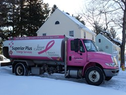 Superior Plus Energy Services donates 5 cents for every gallon of heating oil delivered by a Pink Truck, with a minimum yearly donation of $50,000.