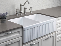 "Alfi White 32"" Fluted Double Bowl Fireclay Farmhouse Kitchen Sink AB537-W"