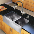 Vigo VG15136 All in One 33 inch Farmhouse Stainless Steel Double Bowl Kitchen Sink and Faucet Set