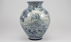 Hand Painted Urn in Blue & White