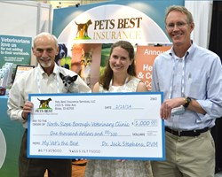 2013 My Vet's the Best grand prize winner Dr. Sarah Coburn with Dr. Jack Stephens, president and founder of Pets Best Insurance Services, LLC, and Chris Middleton, chief operating officer.