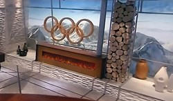 Modern Flames Ambiance CLX 100 inch model shown on the set of NBC at the Olympics.
