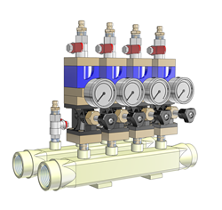 3D CAD Model of a Smartflow® Manifold generated from CADENAS PARTsolutions Configurator