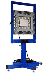 Adjustable 150 Watt LED light mounted on a portable aluminum base stand