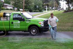 Giroud Crew Member, Matt Giroud, applies customized fertilizer application.