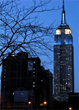 The Empire State Building glows with the colors of the Scottish flag for Tartan Week.
