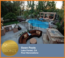 Custom swimming pool builder, Swan Pools, wins the bronze award for the swimming pool remodel category in the International Awards of Excellence.