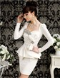 Women Slim Fit Diamond Bow Peplum Long Sleeve semi Formal Dress