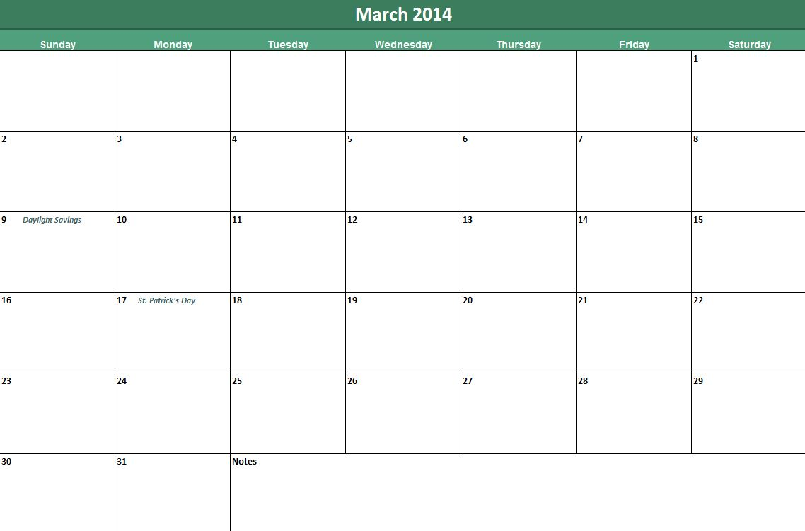 Printable march 2014 calendar now available on leading for Usable calendar template