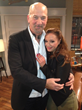 Director Rob Schiller and Leah Remini on the set of The Exes