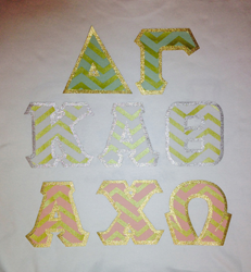stitch letters, sewn-on greek letters, greek letter shirts, sorority letters shirts, pattern fabric, chevron, shimmer