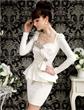 Women Slim Fit Diamond Bow Peplum Long Sleeve semi Formal Dress