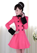Pink Doll Fur Collar and Cuff Double Breast Bow Ruffled Pink A-line Long Coat for Women