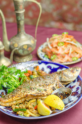 """Nargis Cafe, Nargis Cafe, Nargis Cafe The Village Voice called Nargis Café's grilled trout """"unstintingly fresh,"""" """"of mutant size,"""" and """"crackling and succulent"""" after complimenting Chef Big B for cooking the fish whole. The Cooking Channel featured the la"""