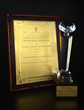 "Trophy and plaque awarded to SITA World Tours for 2013 ""Best Overseas Tour Operator to India from North America"""