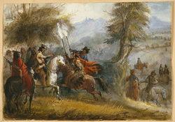 """Alfred Jacob Miller's """"Greeting the Trappers,"""" ca. 1837"""