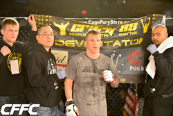 Crazy 88 MMA Coaching staff with fighter, Jon Delbrugge at CFFC